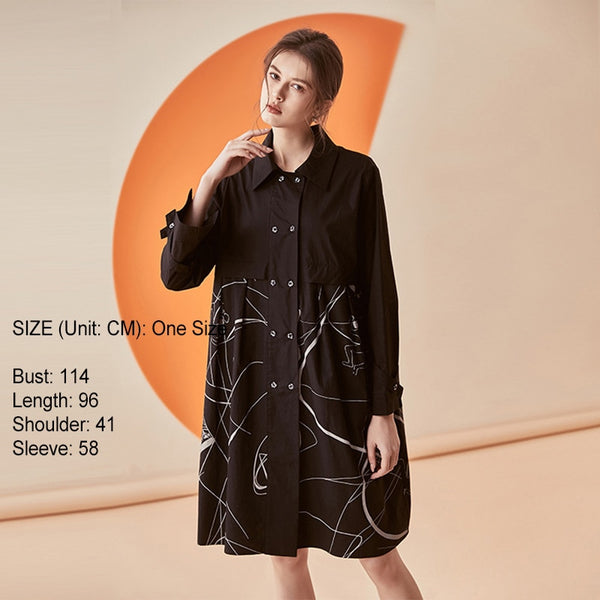 Summer Lapel Long Sleeve Black Pattern Printed Stitch Loose Long Shirt Blouse