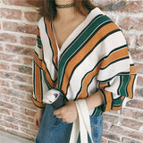 Women Striped Loose V-neck Long Sleeve Lace-up Blouse