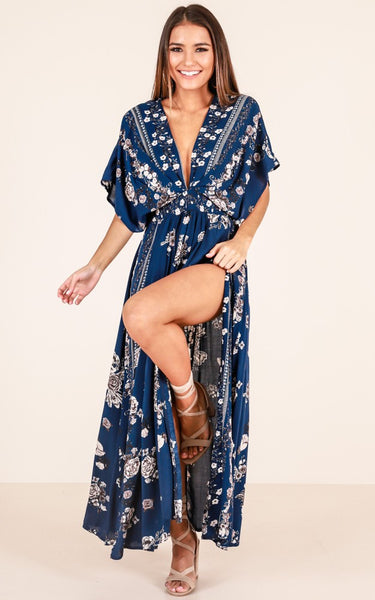 Women Printed Short Sleeve With Belt Summer Boho Maxi Dresses