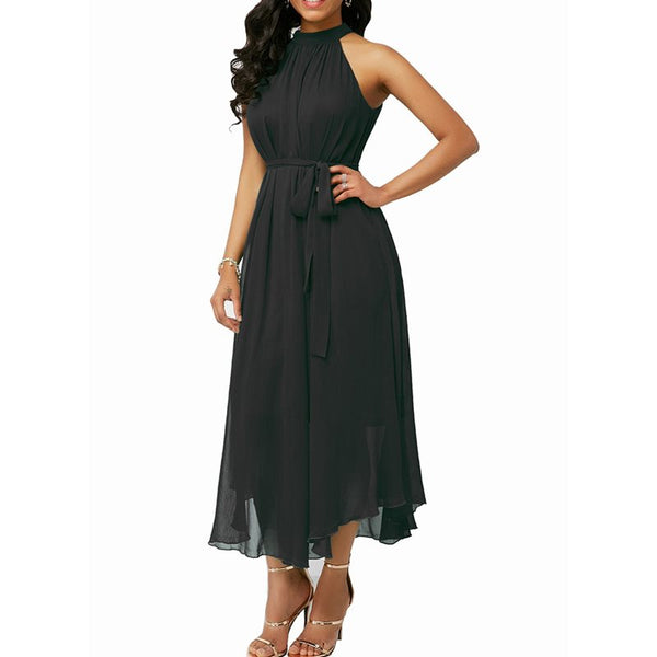 Women Halter Sexy Chiffon Off Shoulder Elegant Maxi Dress