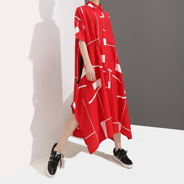 Summer Lapel Short Sleeve Geometric Printed Irregular Drawstring Women Shirt Maxi Dress