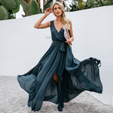 Women Summer Long V-neck Sleeveless Sexy Casual A-line Split Belted Maxi Dress