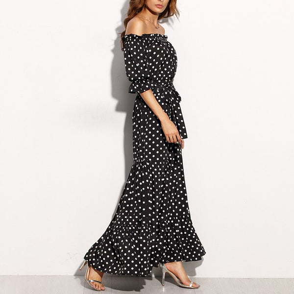 Women Summer Slash Neck Short Sleeve Dot Print Patchwork Maxi Dress
