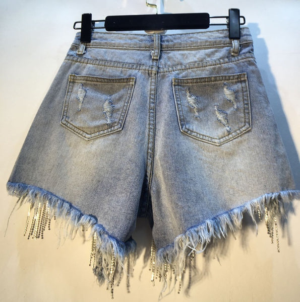 Women Summer High All-match Thin Waist Denim Shorts