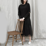 Summer Round Neck Long Sleeve Black Mesh Split Joint Hollow Out Maxi Dress