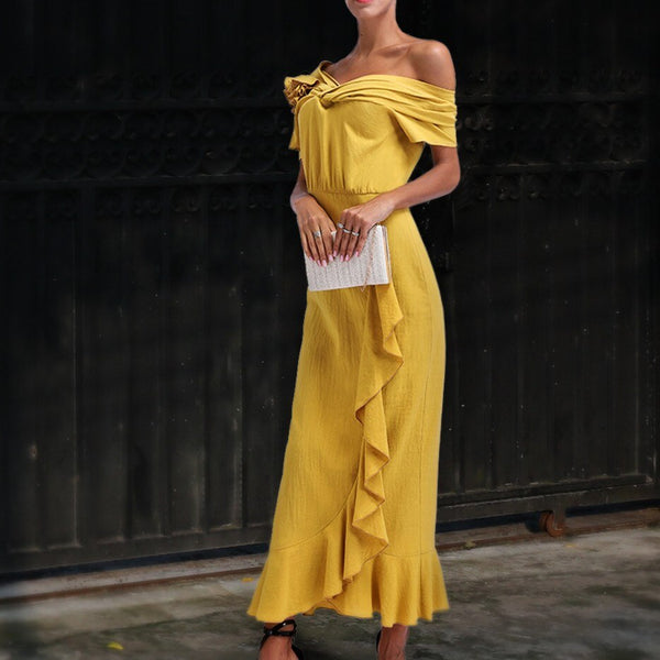 Women Fashion Ruffle Sexy Slash Neck Solid Maxi Dress
