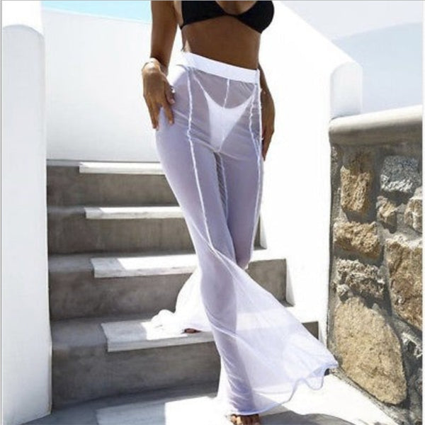 New Sexy Ruffle Women Beach Mesh Sheer Wide Transparent  Bikini Trouser Cover Up