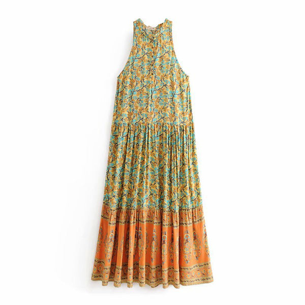 Women Boho Sleeveless V-Neck Summer Maxi Dresses