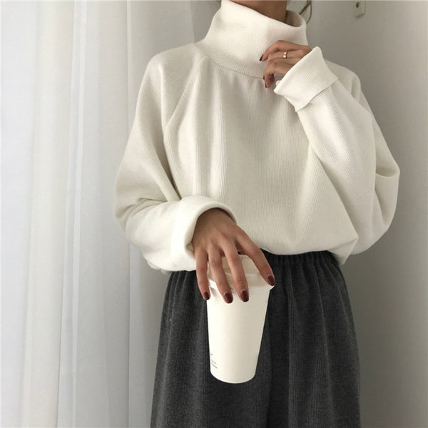 Turtleneck Knitted  Casual Loose Long Batwing Sleeve Sweater