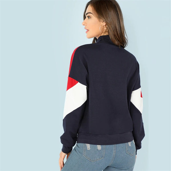 Women Hoodies Multicolor O-Ring Zip Front Cut Sew Stand Neck Raglan Sleeve Sweatshirt