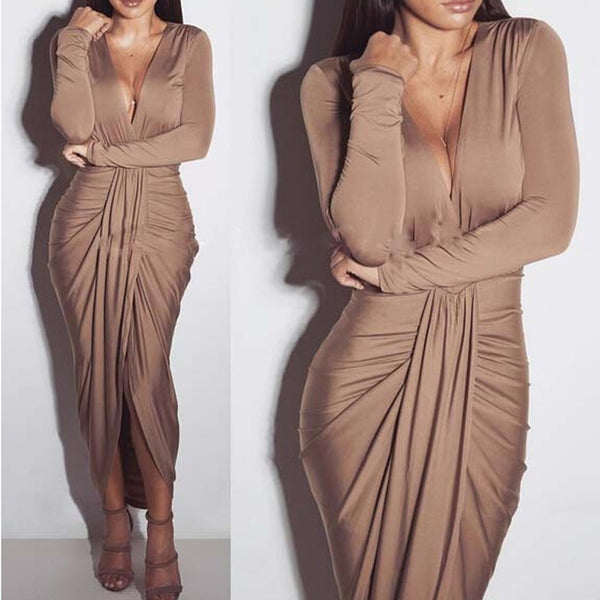 Women Deep V Neck Sexy Chic Bodycon Dress