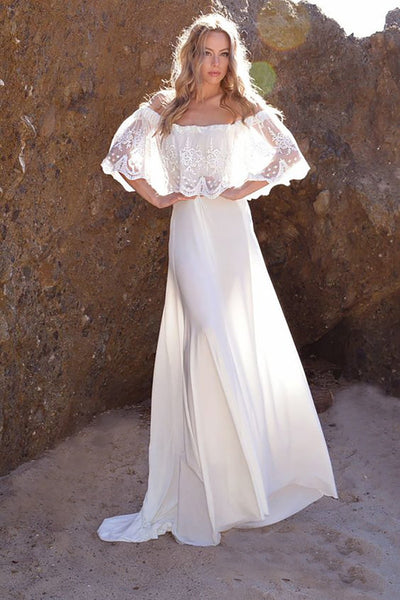 Women Off shoulder Lace Long Floor-Length Wedding Dress