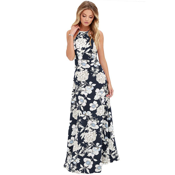 Women Halter Neck Vintage Floral Print Sleeveless Maxi Dress