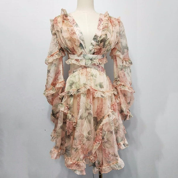 Sexy Print Chiffon V Neck Hollow Out Lantern Sleeve High Waist Mini Dresses