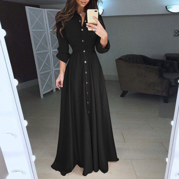 Fashion Women Long sleeves Turn Down Collar Bandage Maxi Dress