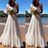 White Lace Plus Size Hollow Out Maxi Dresses