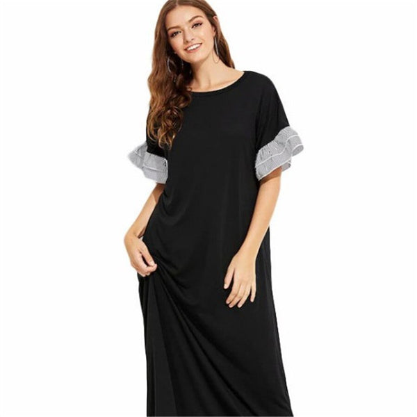 Straight Patchwork O-Neck Pullover Short Sleeve Maxi Dress