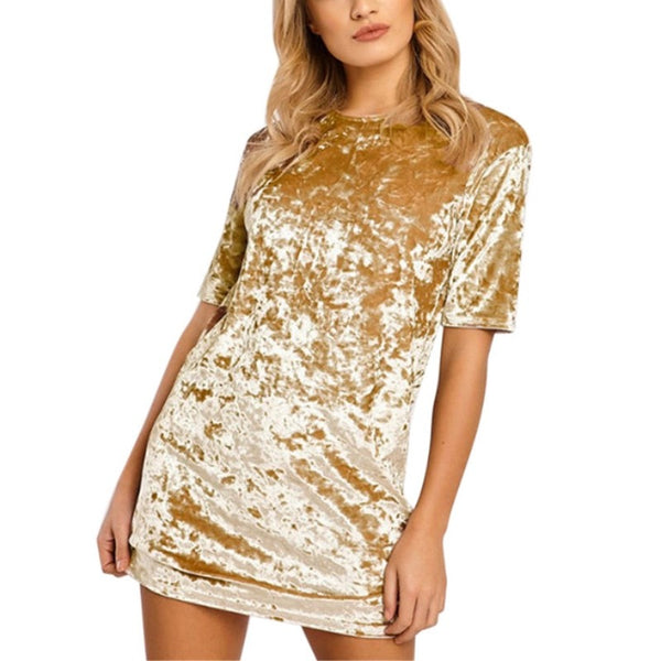 Spring Summer Women Velvet Short Sleeve Casual Mini Dress