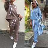 Long Sleeve Thicken Hooded 2 Piece Set Casual Tracksuit