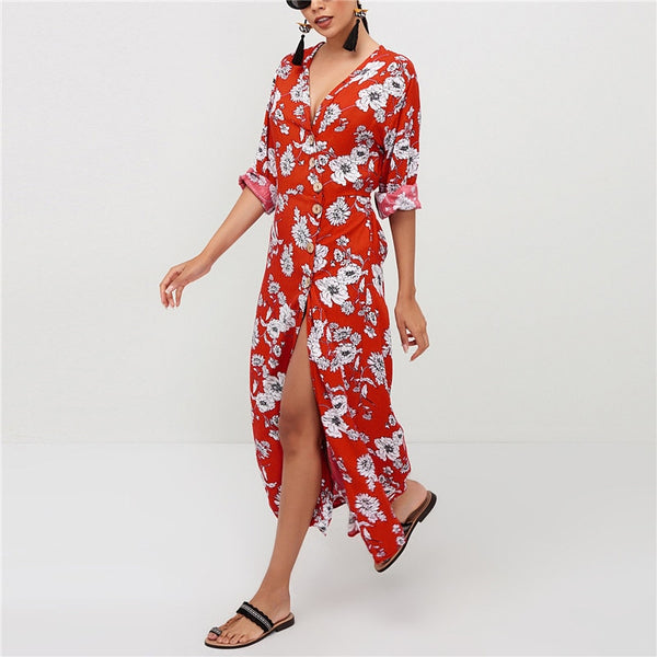 Summer Women Chiffon Floral Print V Neck Plus Size Mini Dress