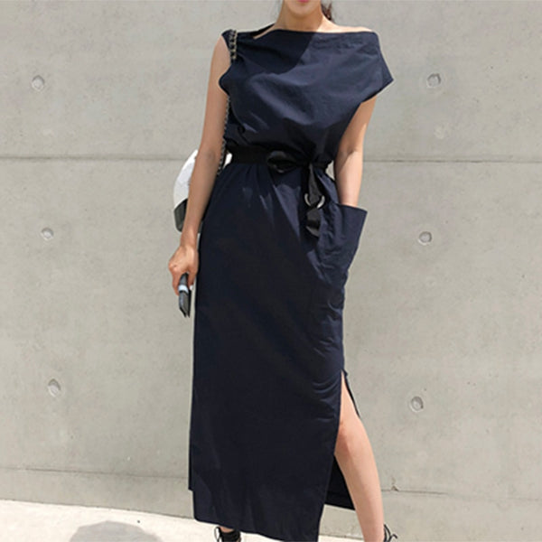 Summer Women Sexy Slash Neck Hem Split Big Pocket Waist Lace Up Slim  Maxi Dress