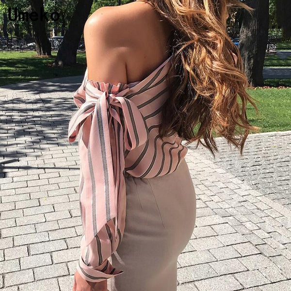 Striped Blouse Women One Shoulder Tops Sexy Long Sleeve Bow Shirts