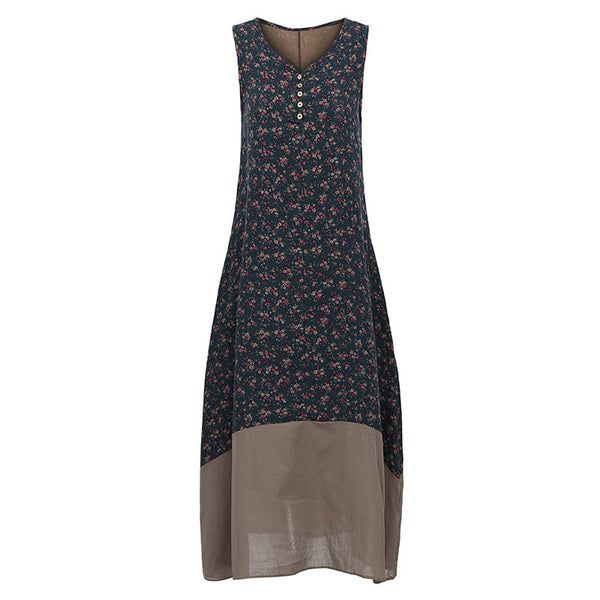 Women Vintage Women Floral Printed Sleeveless Buttons Casual Dress