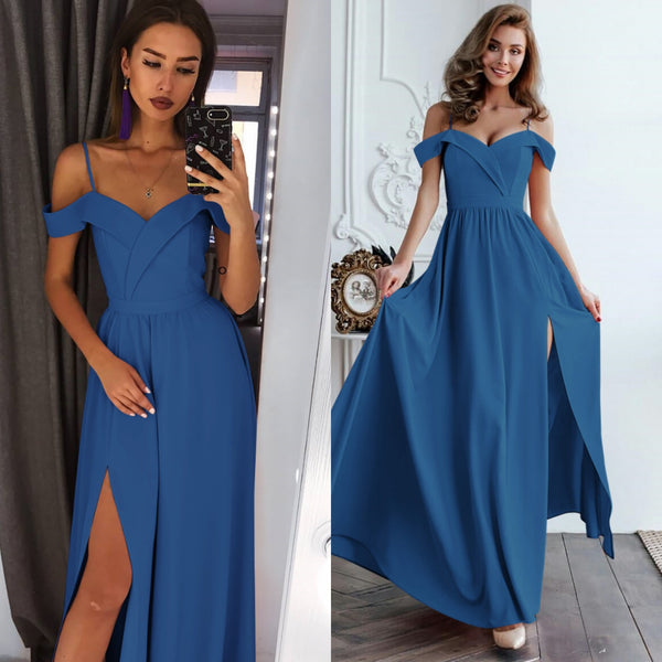 Off Shoulder V-Neck Party Split Sexy Maxi Dress