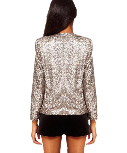 Women Sequin Silver Shiny Jacket Loose Party Paillette Coats