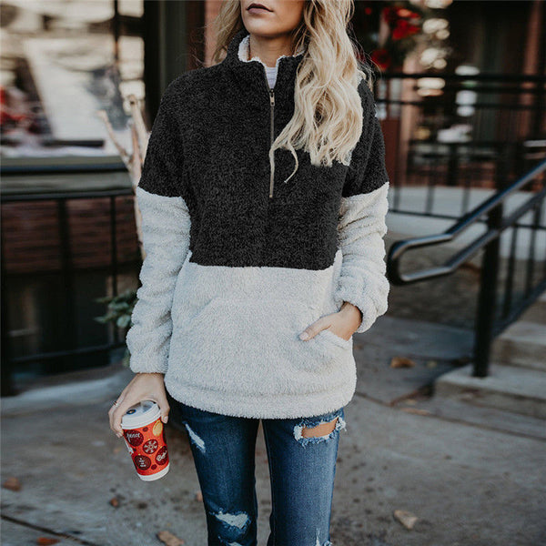 Zipper Up Stand Collar Sweaters Women Pullovers
