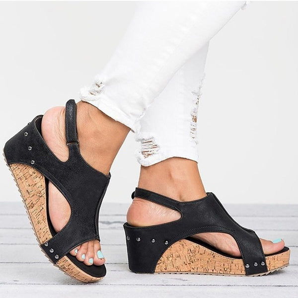 Women Wedges Leather Wedge Heels Sandals