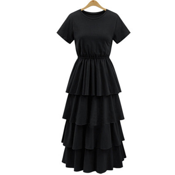 Women Elastic Waist O-neck Black Slim Maxi Dress