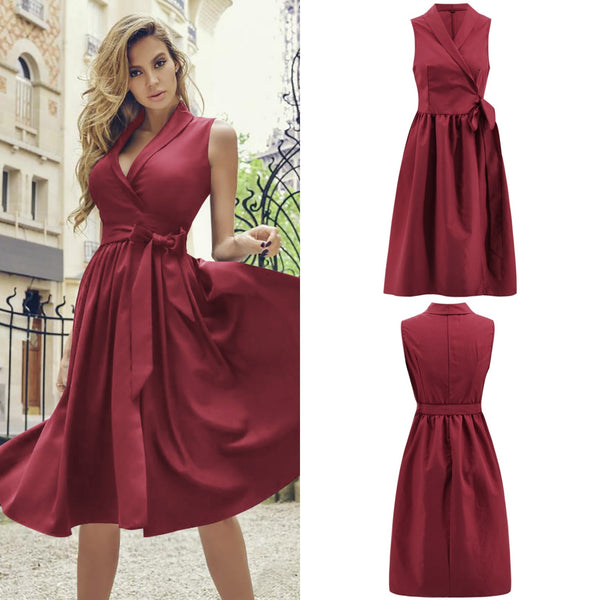 Women's V-neck Cotton Vintage Sleeveless Ball Gown Dress