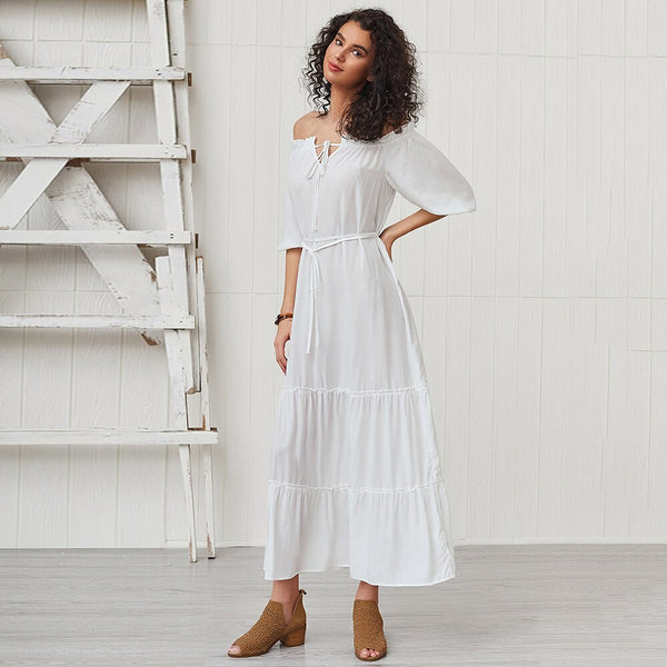 Off Shoulder Half Sleeve Fashion Maxi Bohemian Dress