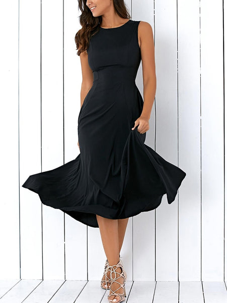 Women Sleeveless Casual Round Neck Loose Fitting Maxi Dress