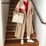 Women's Double-Breasted Trench Coat with Belt Classical Lapel Collar Loose Long Windbreaker