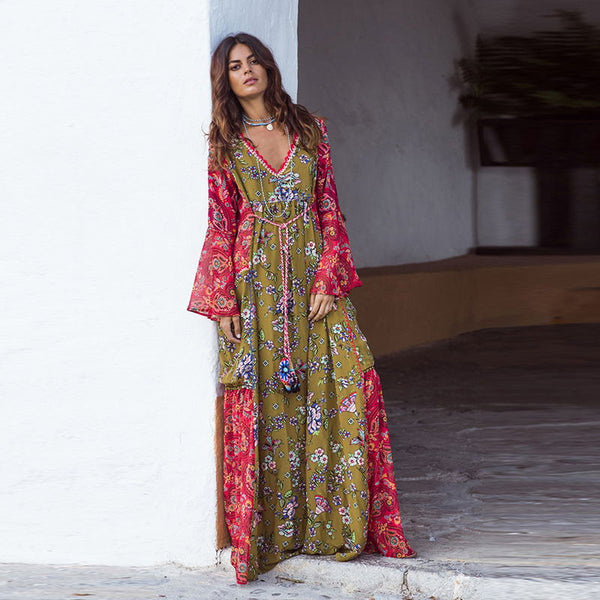 Women Long Gown Floral Print  V Neck Long Sleeve Boho Style Bohemia Dresses