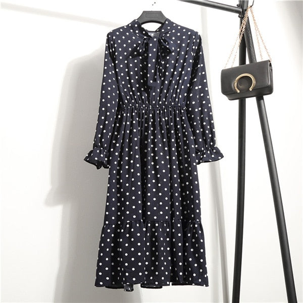 Summer Women Chiffon Print Long Bowknot Mini Dresses