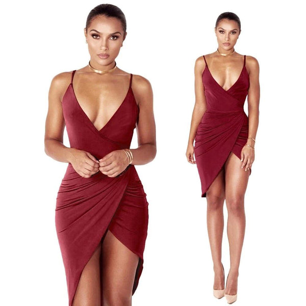 Women Sexy Spaghetti Strap Deep V-Neck Mini Dress