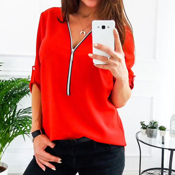 Women Spring Summer Chiffon V Collar Zipper Roll Up Long Sleeves Blouse