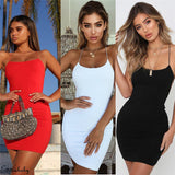 Sexy Plain Solid Color Elegant Backless Sleeveless Bodycon Dress