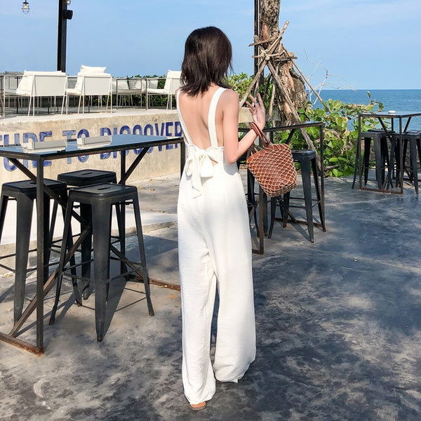 Women Hot Backless Sleeveless Solid Jumpsuit