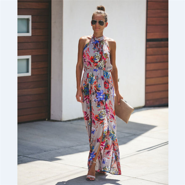 Women Halter Sleeveless Floral Print Ethnic Maxi Dress