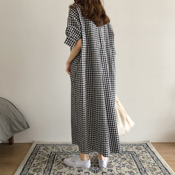 Women Retro Plaid Single Breasted Loose Cotton Shirt Maxi Dress