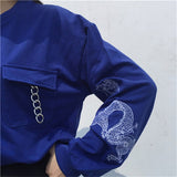 Long Sleeve Chains Preppy O-neck Pullovers Embroidery Sweatshirt Tops