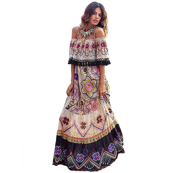 New Bohemian Floral Print Off Shoulder Butterfly Sleeve Slash Neck Maxi Dress