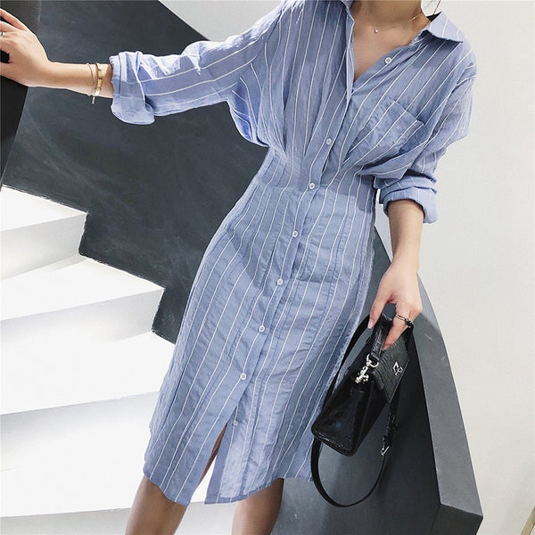 Women Slim Waist Striped Shirt Long Sleeve Knee Length Mini Dress