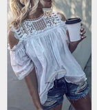 Women Off Shoulder Casual Round Neck Lace Hollow Out Blouse