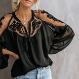 Women Fashion Embroidery Patchwork  Long Sleeve Blouse