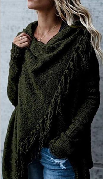 Knitted Pullover Long Sleeve Shawl Cardigan Sweater
